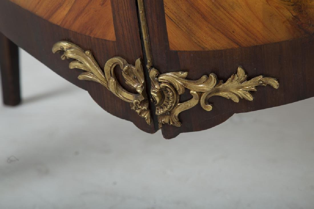 FRENCH WALNUT & ORMOLU-MOUNTED MARBLE TOP COMMODE - 3