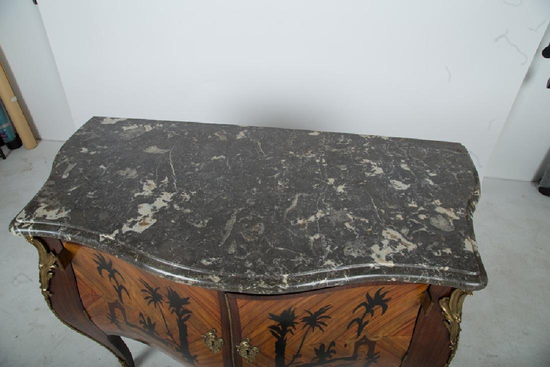 FRENCH WALNUT & ORMOLU-MOUNTED MARBLE TOP COMMODE - 9