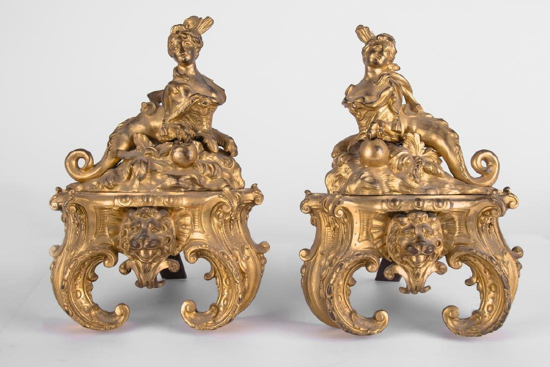 PAIR OF ROCOCO STYLE GILT BRONZE FIGURAL CHENETS