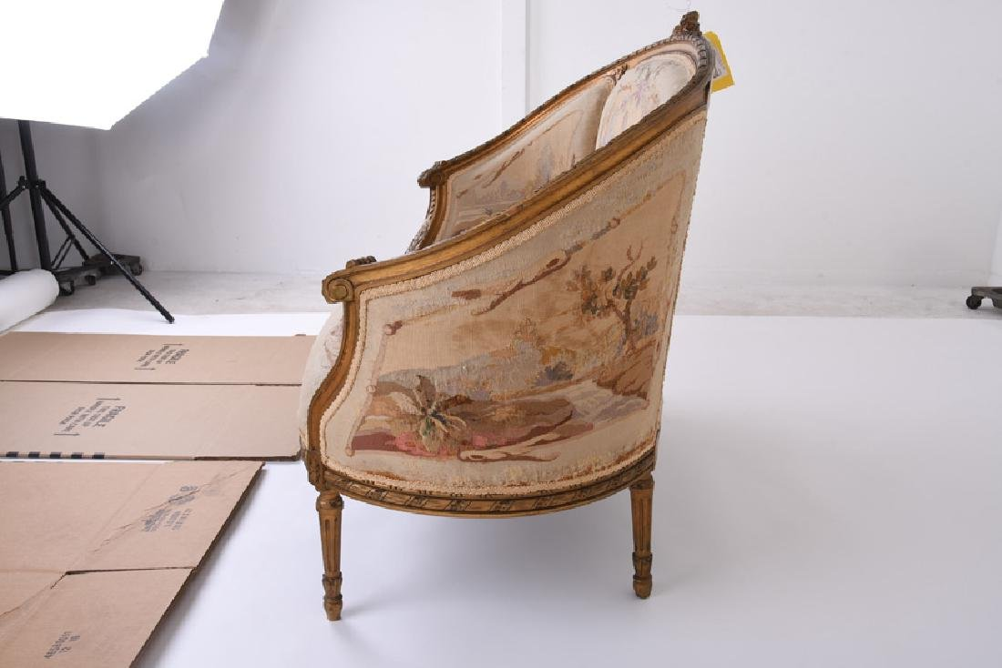 LOUIS XVI GILTWOOD & AUBUSSON TAPESTRY CANAPE - 10