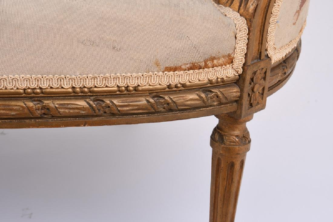 LOUIS XVI GILTWOOD & AUBUSSON TAPESTRY CANAPE - 3