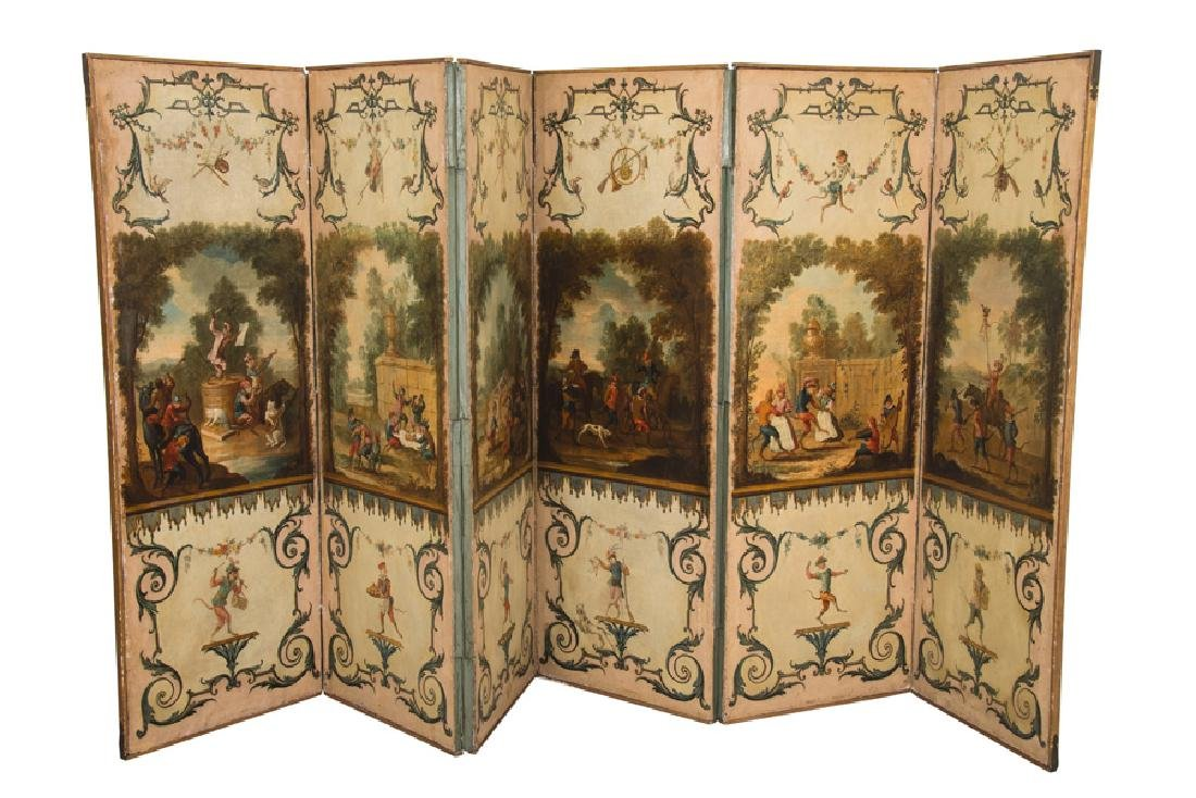CONTINENTAL SIX-PANEL FLORAL PAINTED SCREEN