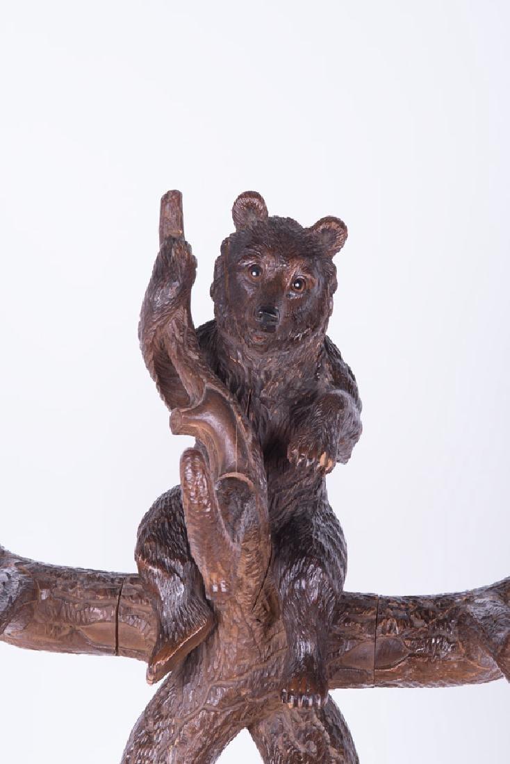 "BLACK FOREST STYLE CARVED WALNUT  ""BEAR"" HALL TREE - 3"