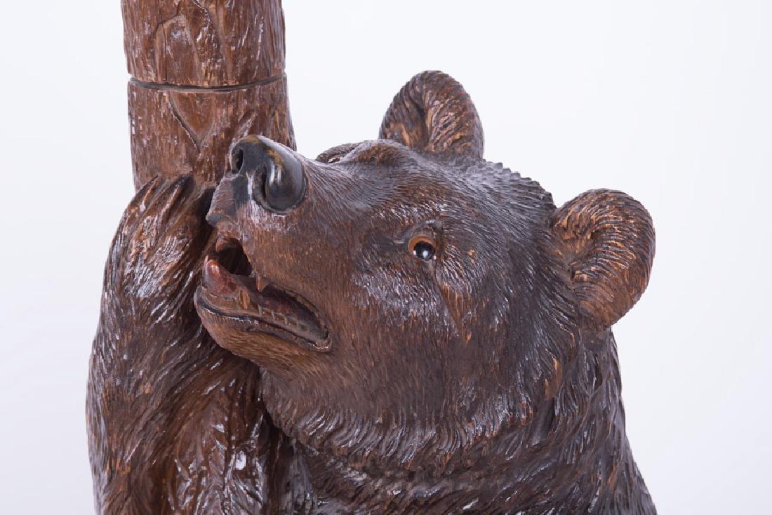 "BLACK FOREST STYLE CARVED WALNUT  ""BEAR"" HALL TREE - 4"