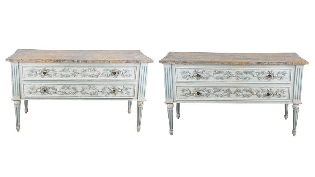 PAIR OF LOUIS XVI PAINTED TWO-DRAWER COMMODES