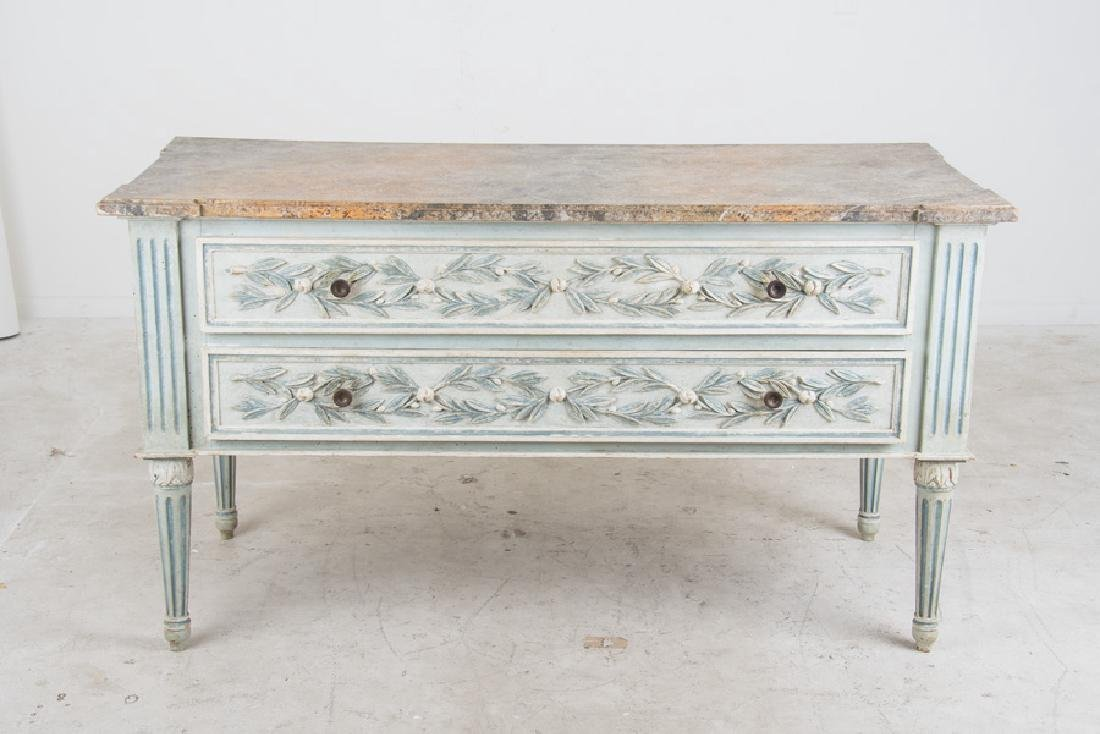 PAIR OF LOUIS XVI PAINTED TWO-DRAWER COMMODES - 2