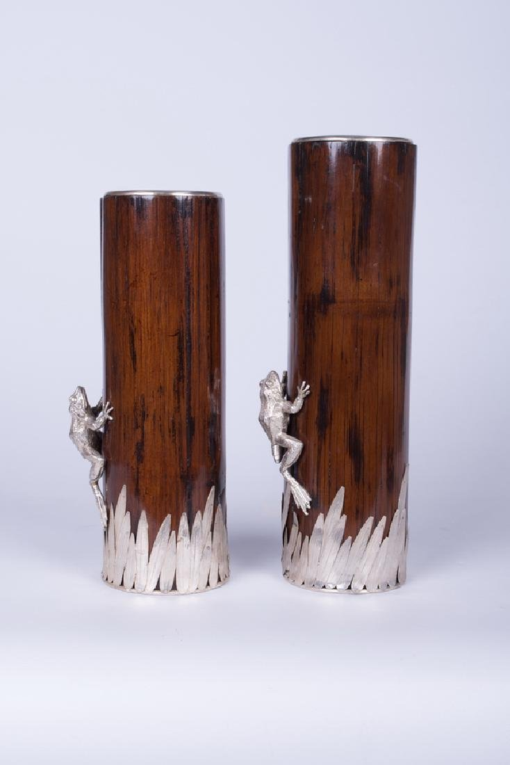 SET OF TWO SILVER, ENAMEL & BAMBOO NOUVEAU VASES - 2