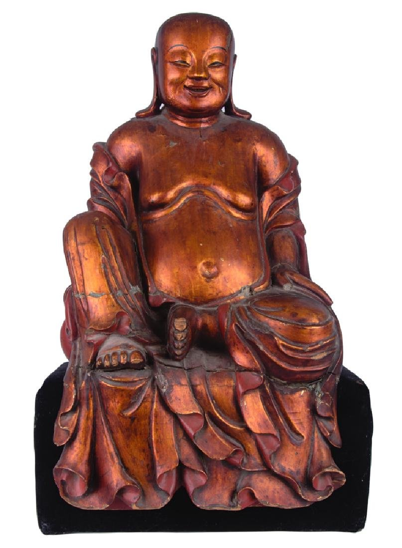 CHINESE GILT LACQUERED & CARVED BUDDHA