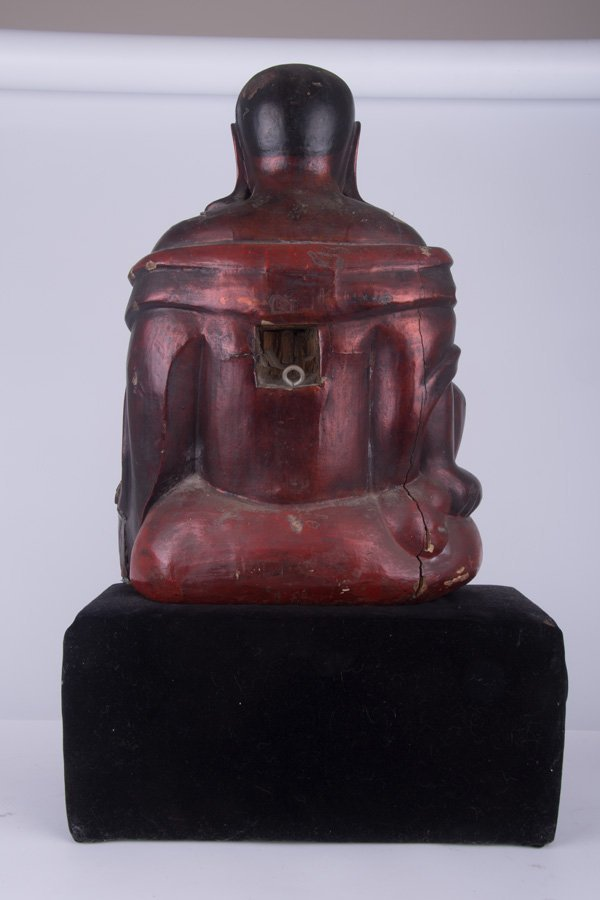 CHINESE GILT LACQUERED & CARVED BUDDHA - 4