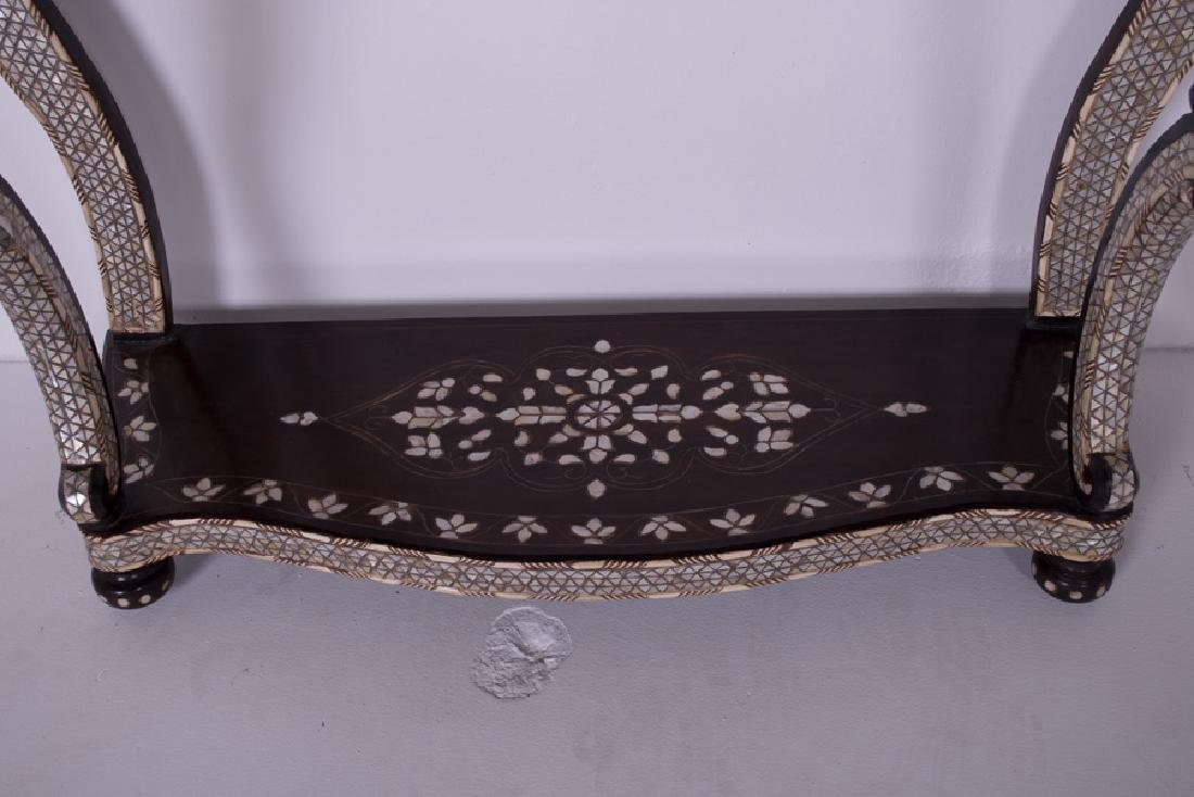 SYRIAN MOTHER OF PEARL INLAID MARBLE TOP CONSOLE & - 7