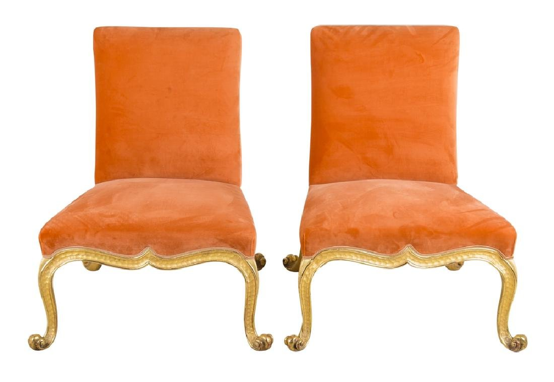 FOUR UPHOLSTERED & PARCEL GILT SIDE CHAIRS