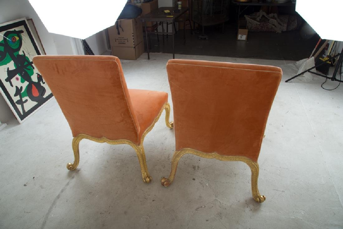 FOUR UPHOLSTERED & PARCEL GILT SIDE CHAIRS - 5