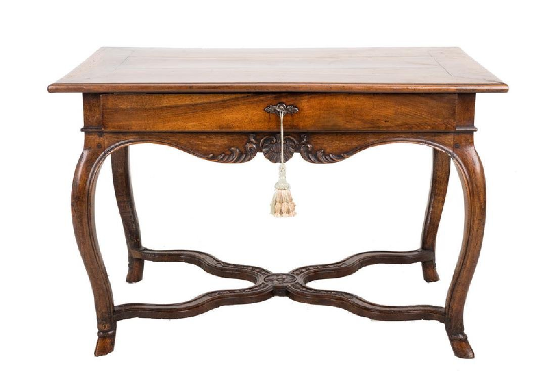 LOUIS XV WALNUT SINGLE DRAWER CENTER TABLE
