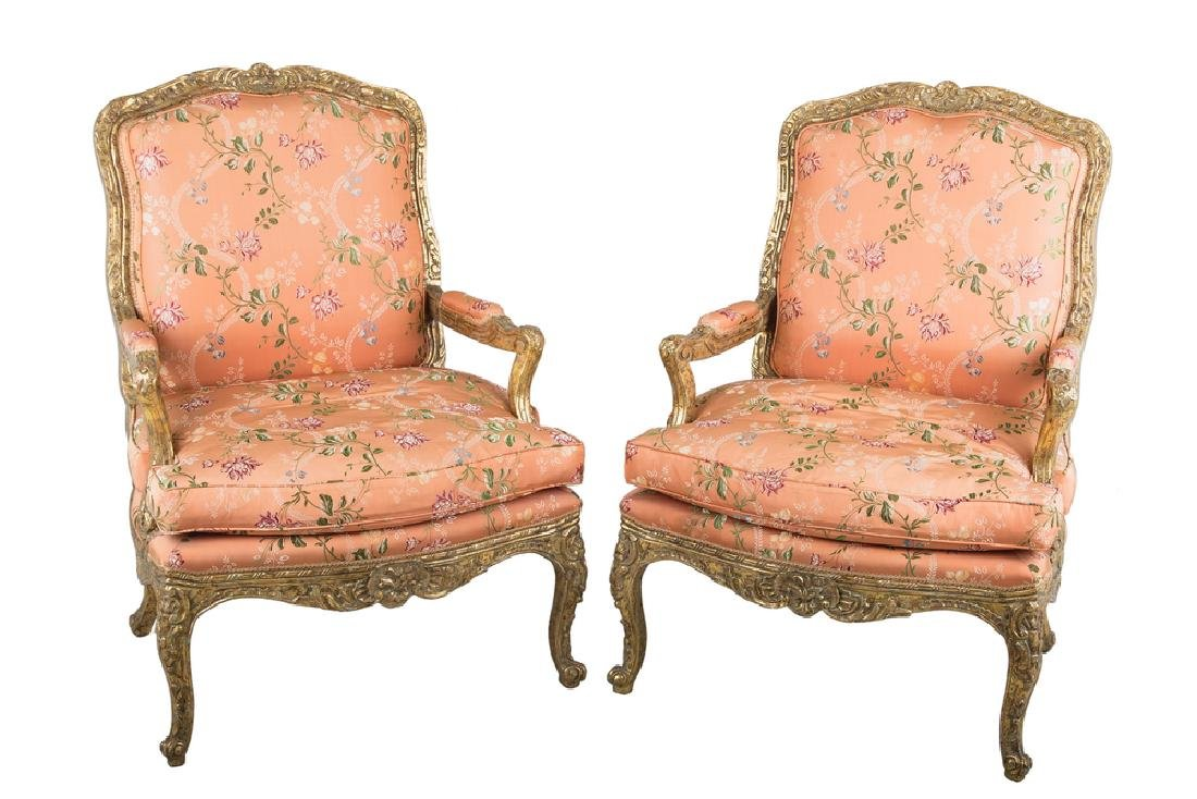 PAIR OF NEOCLASSICAL STYLE PARCEL-GILT FAUTEUILS