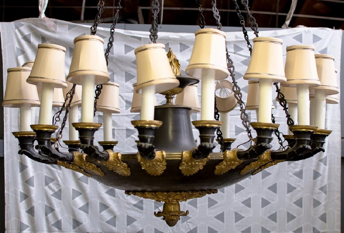 FRENCH BRONZE & GILT-BRONZE EIGHTEEN-LIGHT CHANDELIER
