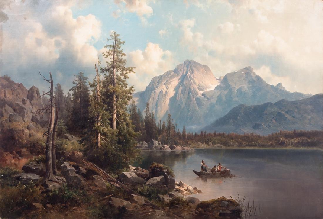 """JOSEF THOMA: """"FISHING BENEATH HOHER GOLL, ALPS"""""""