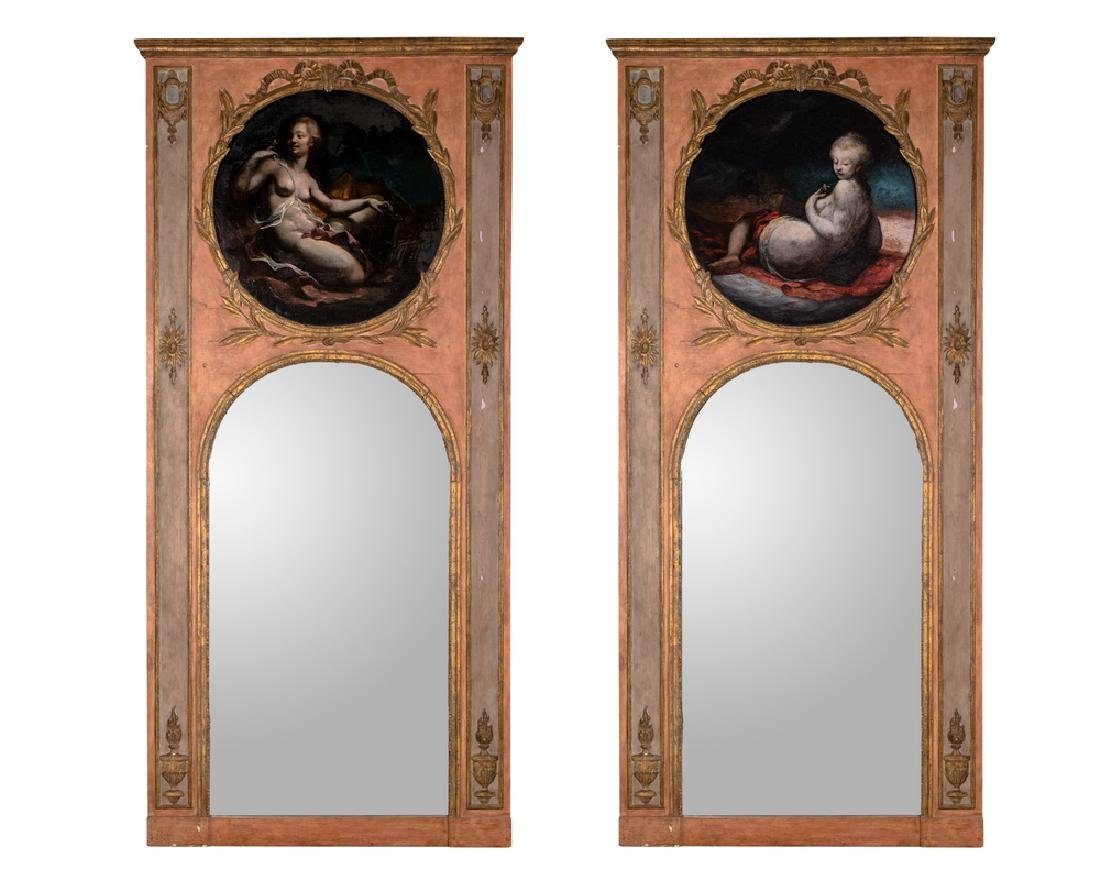 PAIR OF FRENCH PAINTED & GILTWOOD TRUMEAUX