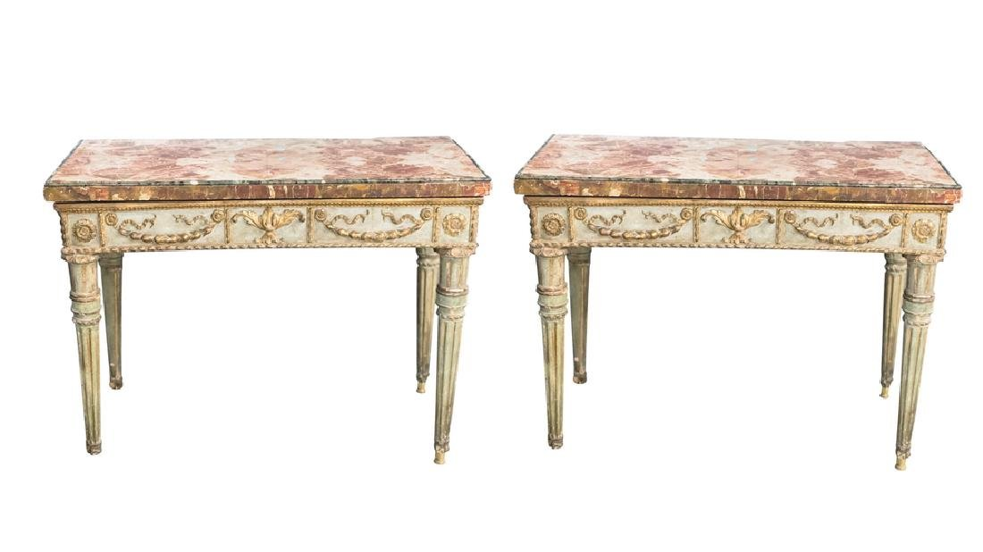 PAIR OF NEOCLASSICAL POLYCHROME & GILT SIDE TABLES