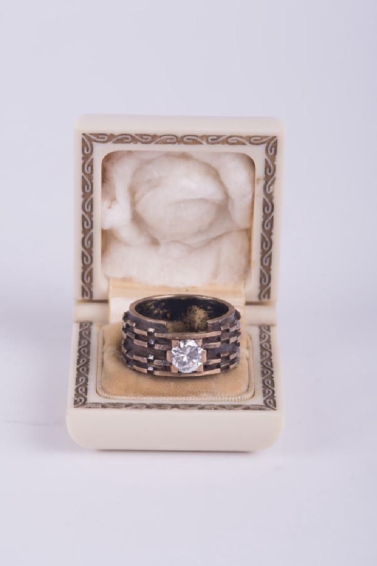 GENTLEMAN'S 14 KARAT GOLD & DIAMOND RING - 8