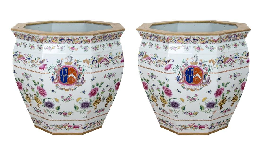 "PAIR OF CHINESE ""EXPORT PORCELAIN"" STYLE PLANTERS"