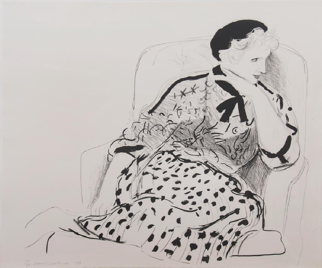 "DAVID HOCKNEY: ""CELIA IN AN ARMCHAIR"""