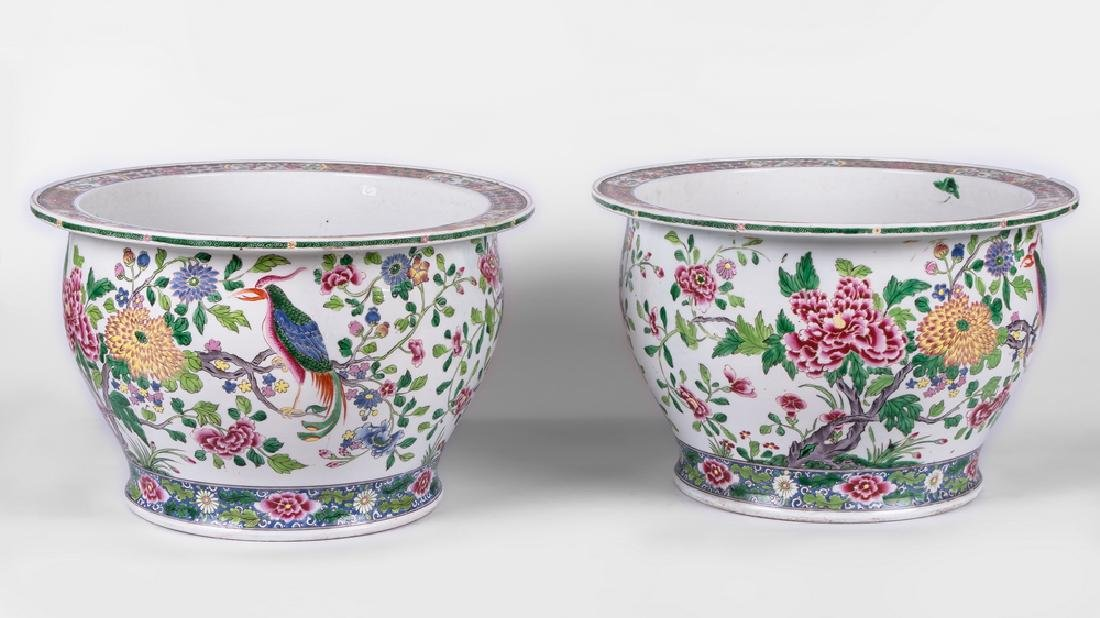 """PAIR OF """"CHINESE EXPORT"""" STYLE PORCELAIN JARDINIERES"""
