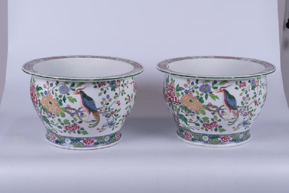 """PAIR OF """"CHINESE EXPORT"""" STYLE PORCELAIN JARDINIERES - 3"""