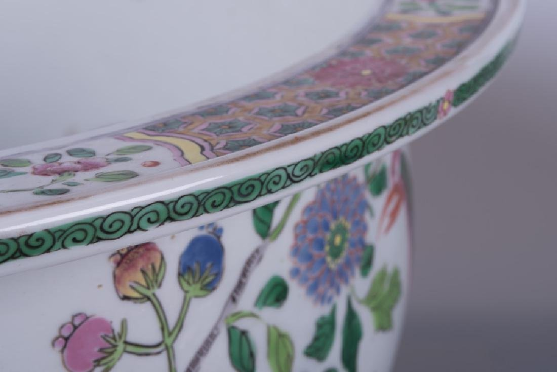 """PAIR OF """"CHINESE EXPORT"""" STYLE PORCELAIN JARDINIERES - 8"""