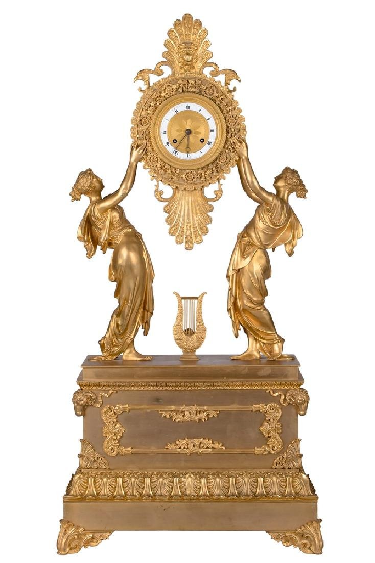 FRENCH EMPIRE STYLE GILT-BRONZE FIGURAL MANTLE CLOCK