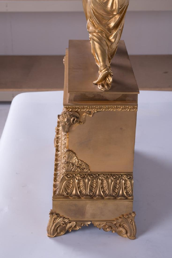 FRENCH EMPIRE STYLE GILT-BRONZE FIGURAL MANTLE CLOCK - 3