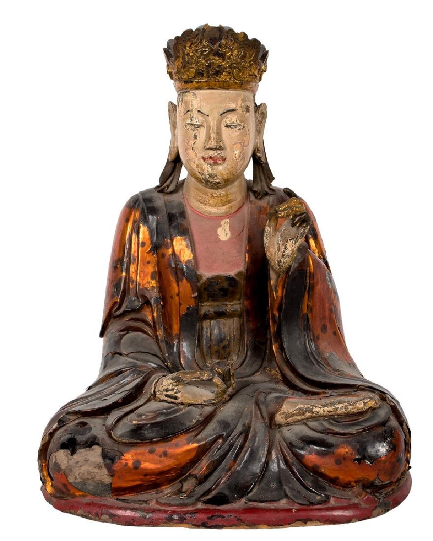 CHINESE POLYCHROME & GILT LACQUERED SEATED BUDDHA