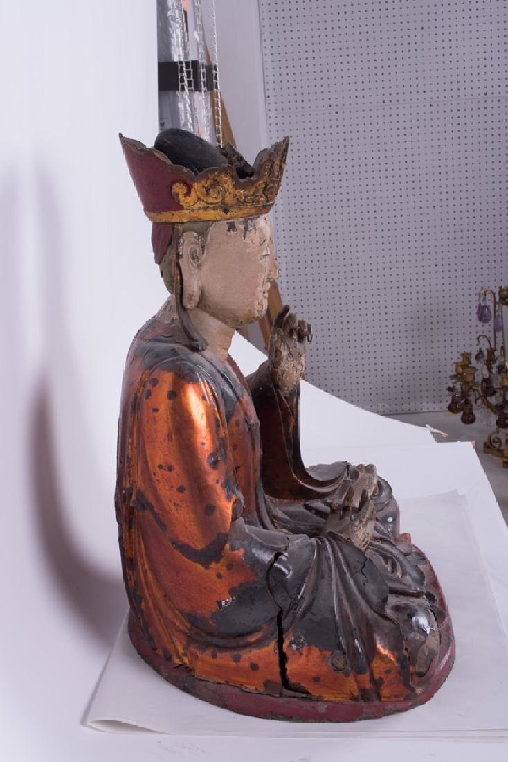 CHINESE POLYCHROME & GILT LACQUERED SEATED BUDDHA - 2