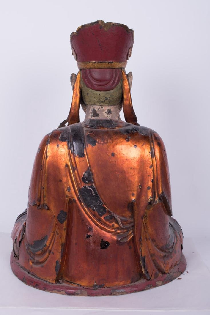 CHINESE POLYCHROME & GILT LACQUERED SEATED BUDDHA - 3