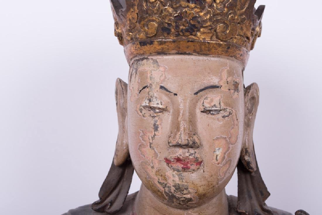 CHINESE POLYCHROME & GILT LACQUERED SEATED BUDDHA - 4