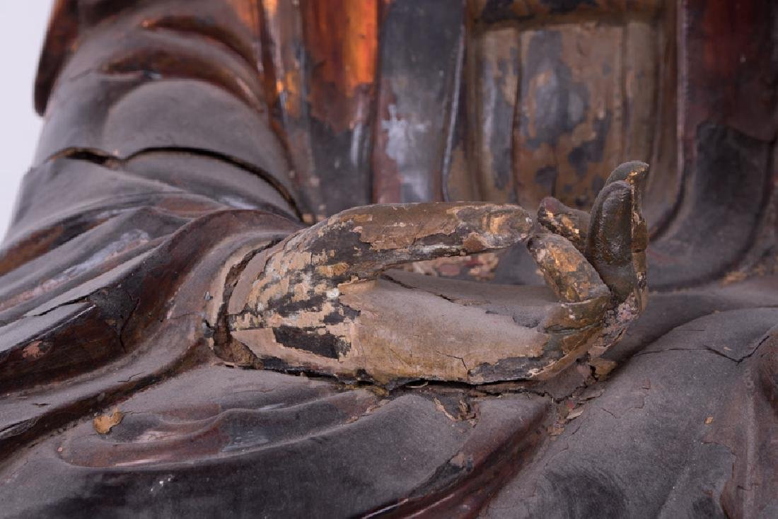CHINESE POLYCHROME & GILT LACQUERED SEATED BUDDHA - 6