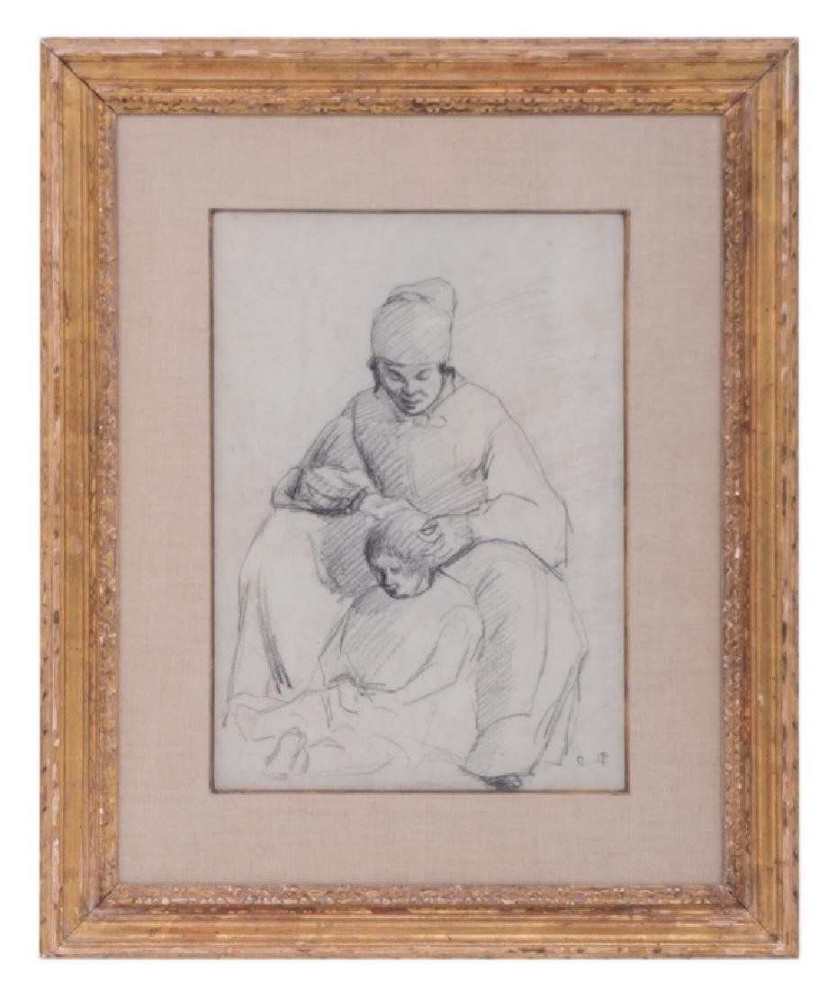 """ATTRIBUTED TO CAMILLE PISSARRO: """"MOTHER & CHILD"""" (A"""