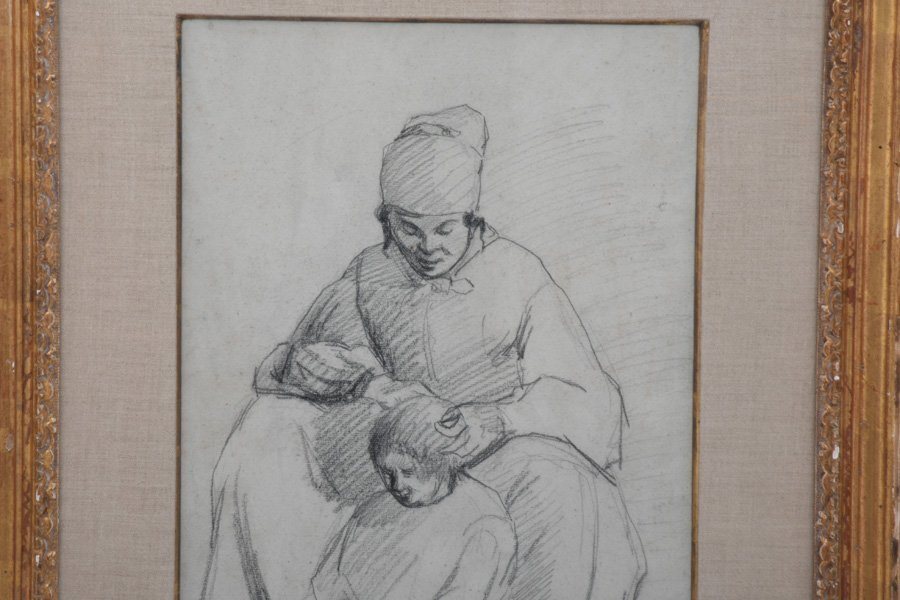 """ATTRIBUTED TO CAMILLE PISSARRO: """"MOTHER & CHILD"""" (A - 2"""
