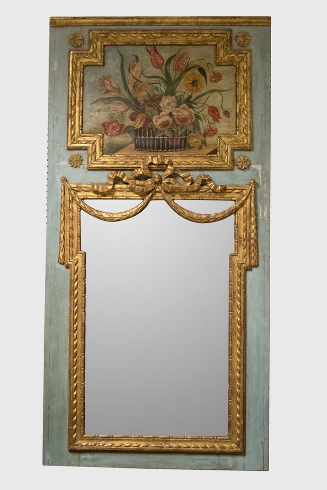 FRENCH PAINTED & PARCEL GILT TRUMEAU MIRROR