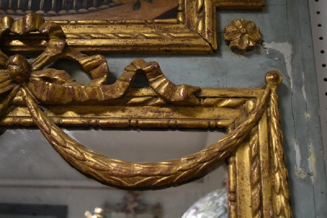 FRENCH PAINTED & PARCEL GILT TRUMEAU MIRROR - 3