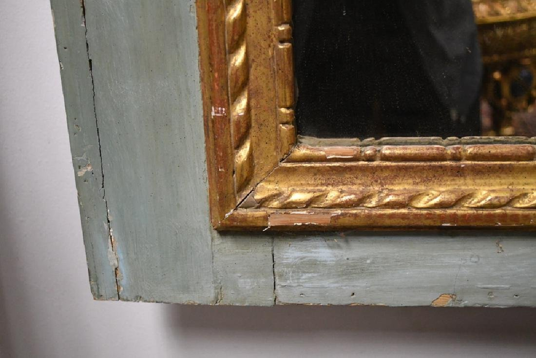 FRENCH PAINTED & PARCEL GILT TRUMEAU MIRROR - 5