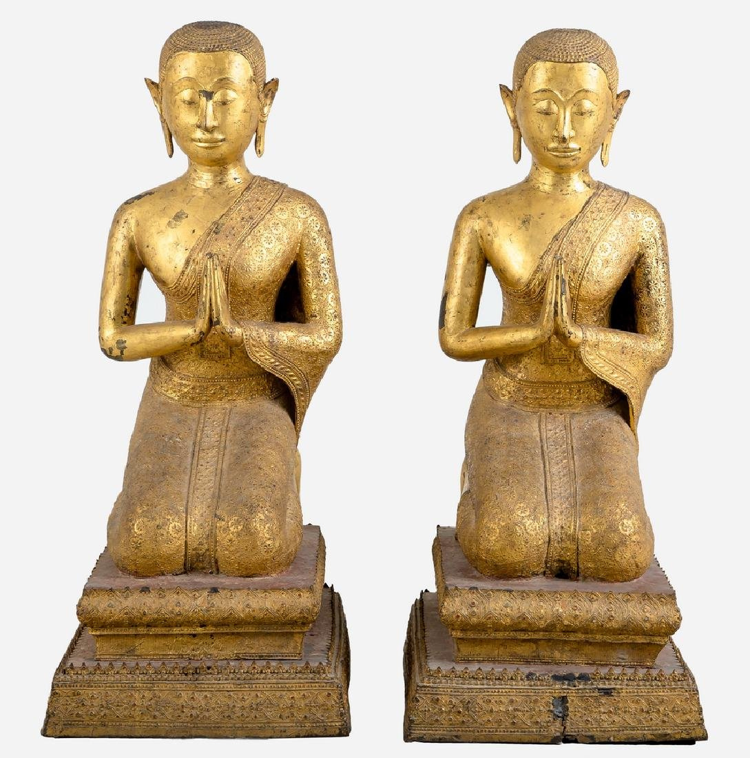 PAIR OF SOUTHEAST ASIAN GILT-METAL KNEELING BUDDHAS