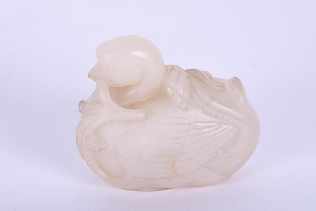 CHINESE WHITE JADE CARVING OF A DUCK - 3