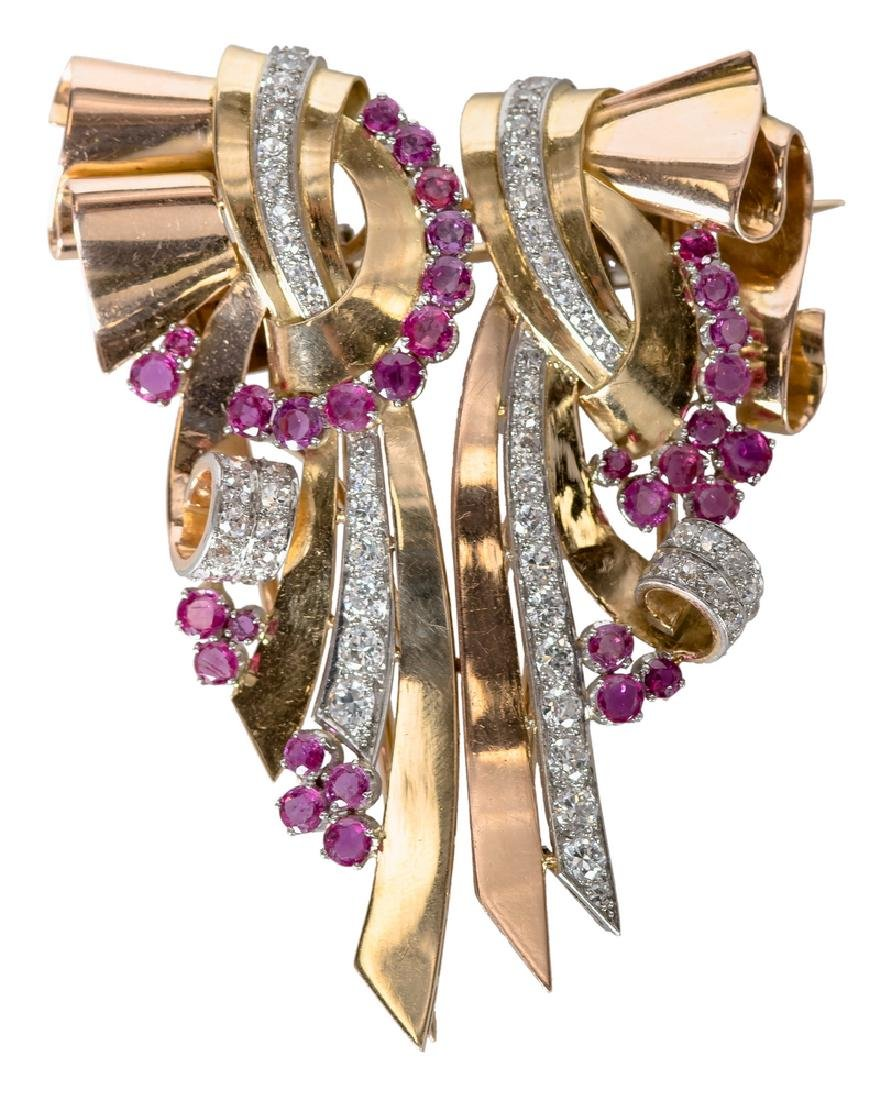 18 KARAT TRI-COLOR GOLD, RUBY, & DIAMOND RIBBON BROOCH