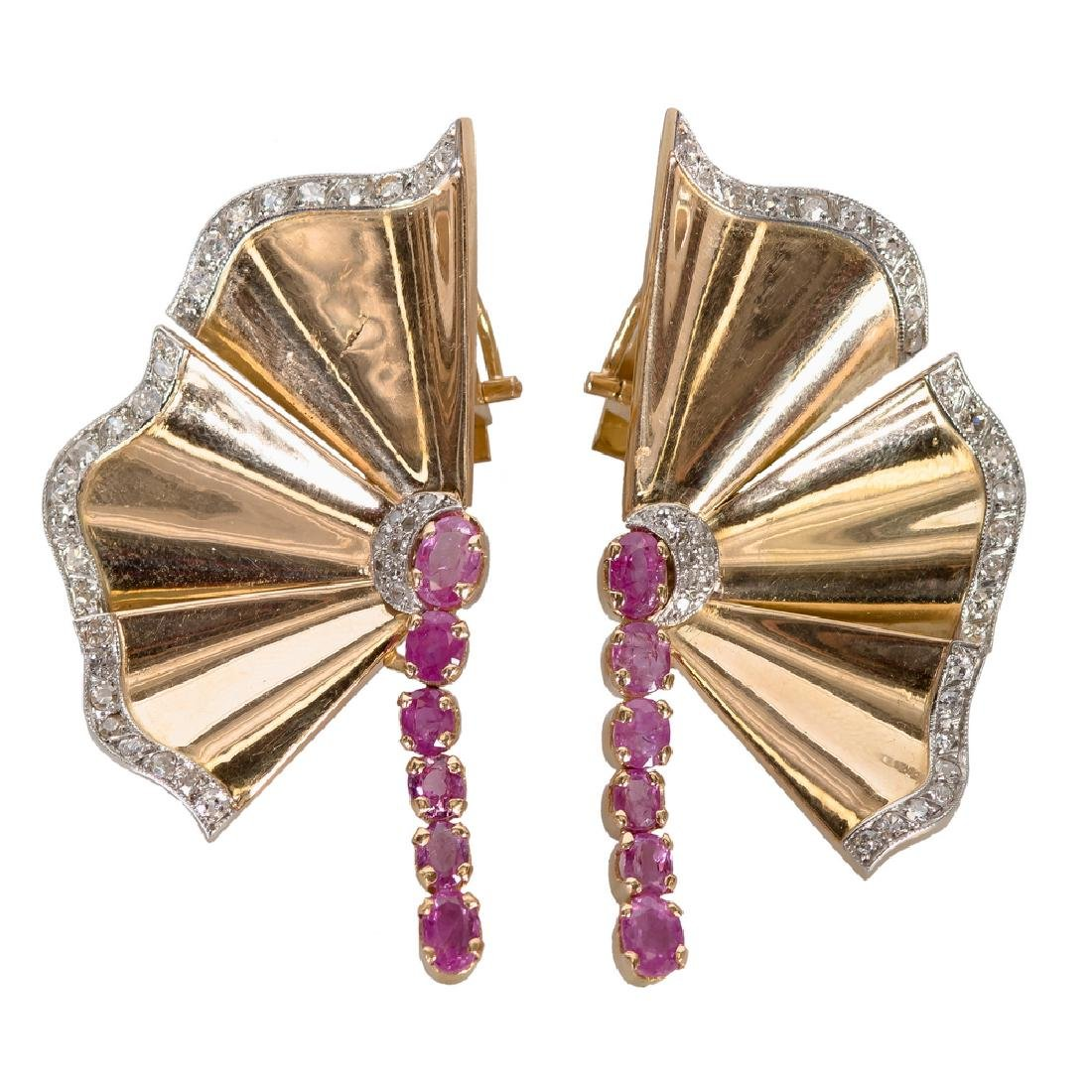 PAIR OF 18 KARAT ROSE GOLD, DIAMOND, & RUBY FAN