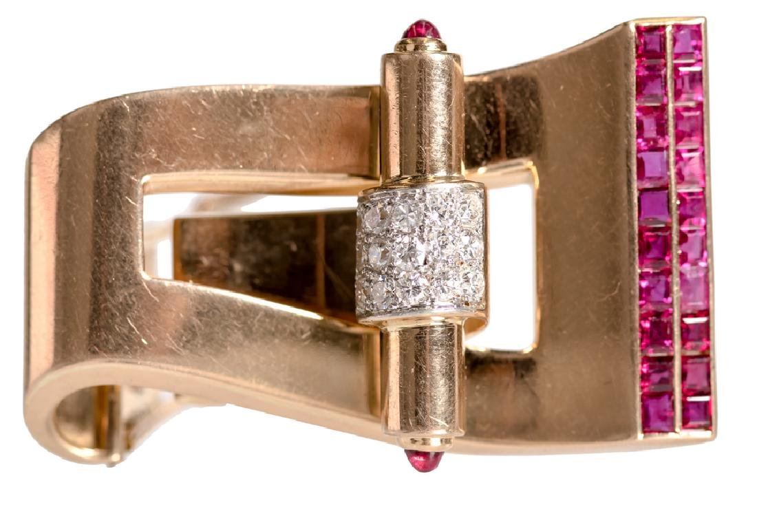BOUCHERON 18 KARAT GOLD, RUBY, & DIAMOND CLIP PIN