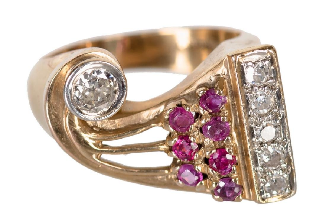 14 KARAT ROSE GOLD, PLATINUM, DIAMOND, & RUBY RING