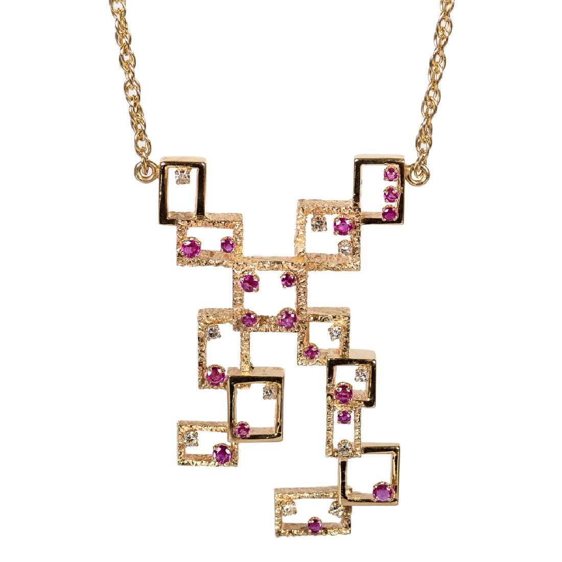 14 KARAT GOLD, DIAMOND, & RUBY MODERNIST NECKLACE