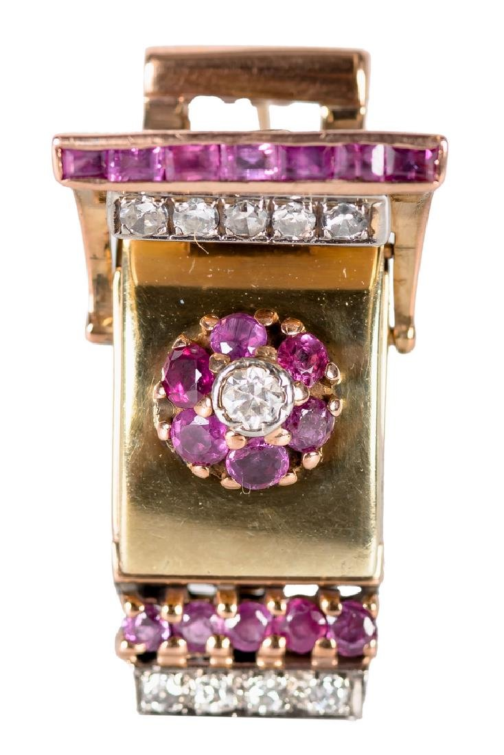 14 KARAT ROSE & YELLOW GOLD, RUBY, & DIAMOND WATCHCASE
