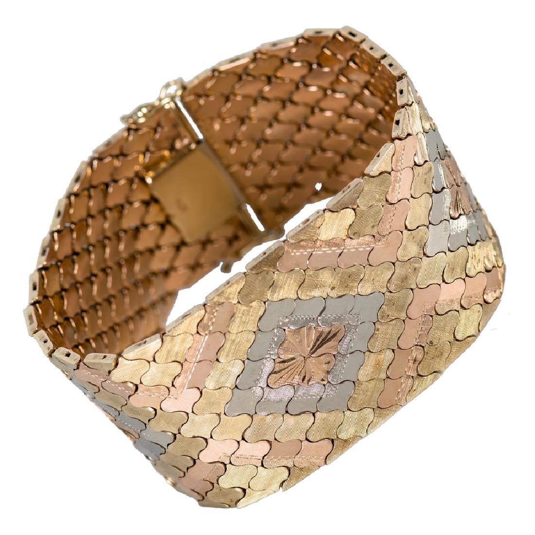 14 KARAT GOLD TRI-COLOR BRACELET