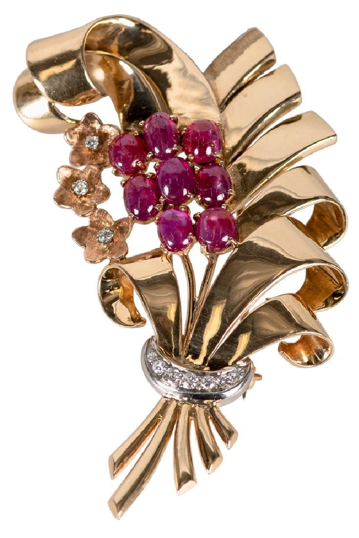 14 KARAT ROSE & WHITE GOLD, RUBY, & DIAMOND BROOCH
